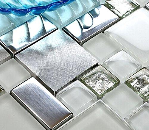 Hominter 5-Sheets Silver Coated Glass Backsplash Tile, Brushed Aluminum Metallic Mosaic, White Crystal Decor Tile for Kitchen/Bathroom/Accent Wall JY63