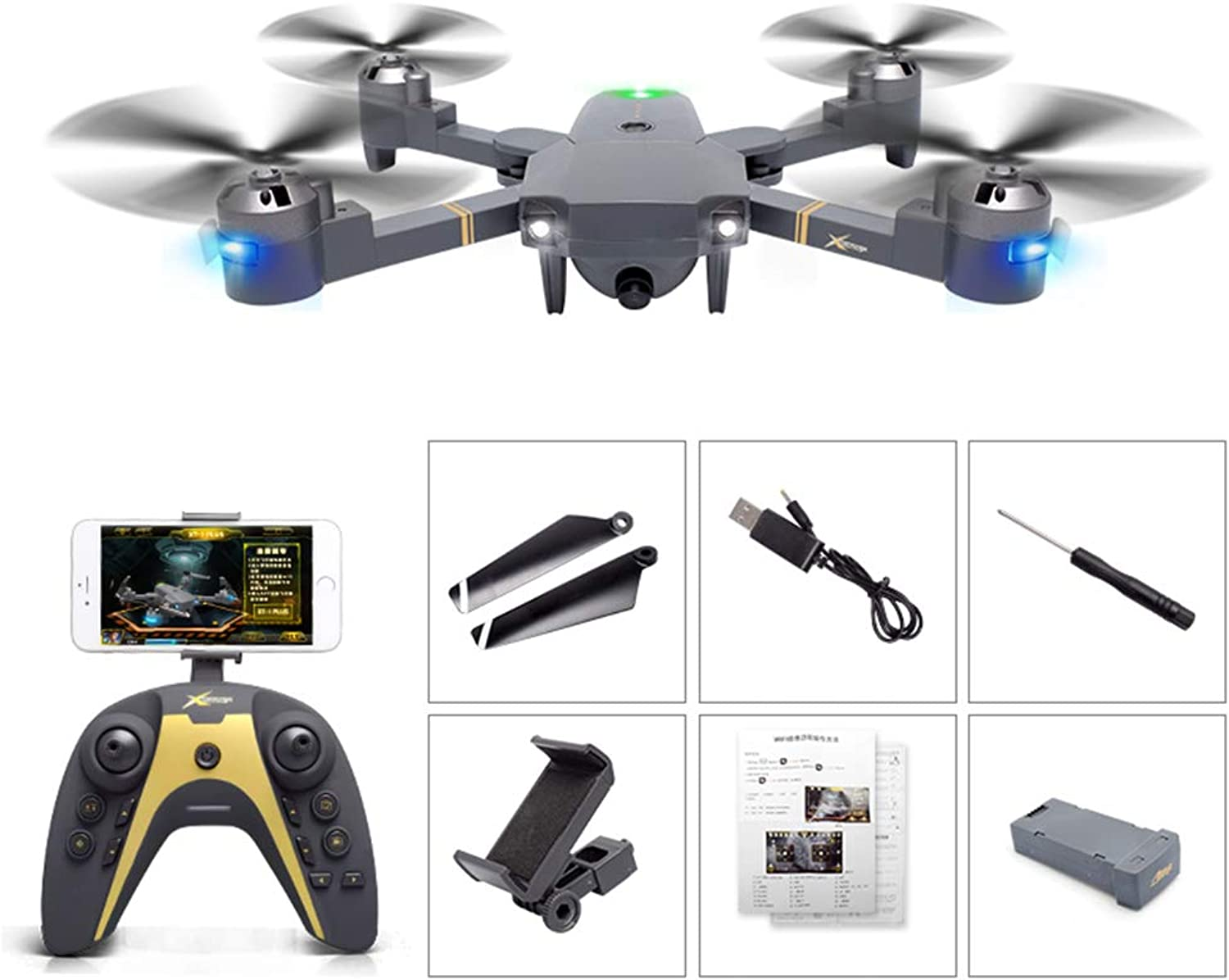 WANGKM FPV RC Quadcopter Drone, 720P Wide-Angle HD Camera 4 Channel 2.4GHz 6-Gyro withPneumatic Constant Height,Headless Mode, One Key Return Function,Foldable,Gesture Photo, for Beginner