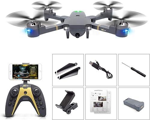 Drone Quadricoptère FP FPV, Caméra HD 720P Grand Angle 4 Canaux 2,4 GHz avec Hauteur Constante Pneumatique, Mode Sans Tête, Fonction de Retour à une Touche, Pliable, Photo de Geste, pour Débutant