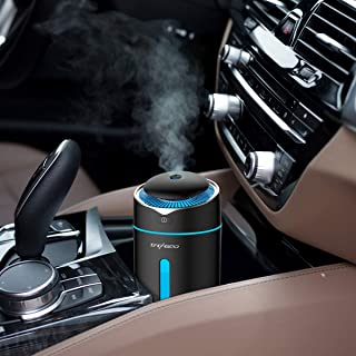 CACAGOO Car Diffuser USB Car Humidifier 300ml Ultrasonic Humidifier with 7 Colors LED Light,Quiet Operation & Auto Shut-Off for Baby Room/Office/Car Travel(Black)