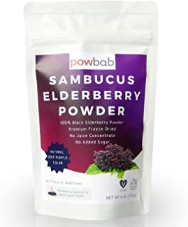 powbab Sambucus Elderberry Powder from 100% Freeze-Dried Organic Elderberries, Chilean (4 oz). No Juice Concentrate, No Su...