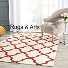 Rugs & Arts 4 x 6 Feet Moroccan Hand Made Pure Woolen Carpet Loop/Cut Pile for Living Room Bedroom Drawing Room Hall and Floor Size 4 Feet x 6 Feet (120 x 180 cm) Color Ivory & Rust