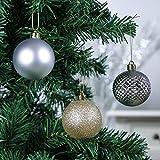 Valery Madelyn Weihnachtskugeln 50 Stücke 6CM Kunststoff Christbaumkugeln Weihnachtsdeko mit Aufhänger Weihnachtsbaumschmuck für Weihnachtsdekoration Elegant Basiskugel Thema Gold Weiß - 4