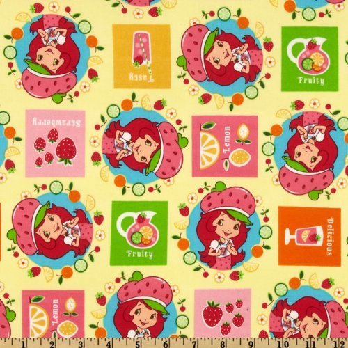 44'' Wide Strawberry Shortcake Fruit Yellow Fabric By The Yard