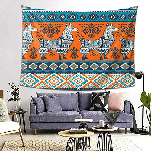 Wozukia Elephants Tapestry Tribal Ornament Pattern Aztec Geometric Lace Henna Tattoo Style Blue Orange Tapestry Wall Hanging Blanket Backdrop for Bedroom Living Room Dorm 80x60 Inch