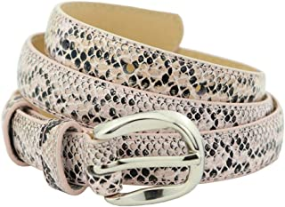 Women's Thin Snakeskin Belt With Metal Buckle