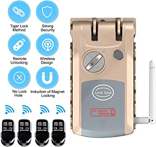 OWSOO Cerraduras Invisibles, Cerradura sin Llave con 4 Control Remoto, Soporta Bloqueo de Control Remoto, Interruptor de Botón de Emergencia Manual, Bloqueo Automático por Inducción del Imán