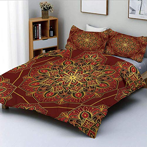 Totun Duvet Cover Set,Rich Colorful Ornament Symbol of Cosmos in Arabic Style Medieval Artistic DecorativeDecorative 3 Piece Bedding Set with 2 Pillow Sham,Maroon Yellow black,Best G Easy Care Ant