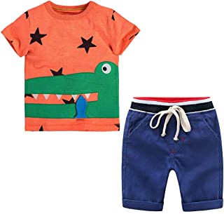 Yilaku Baby Boys Girl's Summer Cotton Short Sleeves T-Shirt + Short Pants Clothes Outfit Set 18Month-6 Years