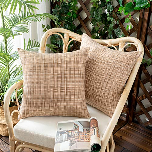 Woaboy Set mit 2 wasserdichten Kissenbezügen für den Außenbereich, dekorativ, Bauernhaus, wasserabweisend, solide Kissenbezüge für Terrasse, Garten, Sofa, Stühle, Hellbraun, 45,7 x 45,7 cm