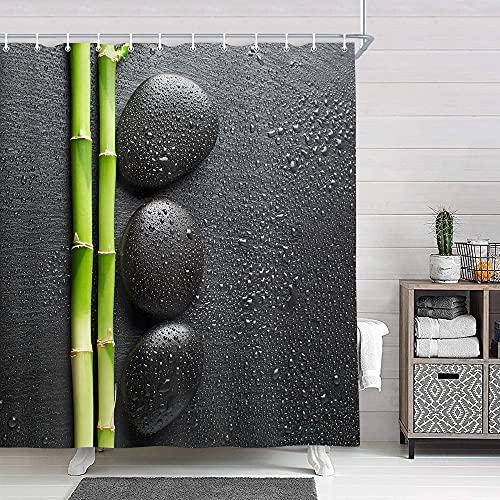 NYMB Decoración de spa, diseño de jardín zen con piedra y bambú sobre cortina de ducha negra, tela de poliéster para yoga,...