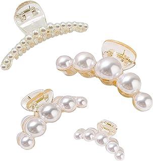 Big Pearl Pince à cheveux avec bec clip en or rose ton cœur rectangle formes