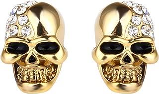 Punk Body Piercing Earrings Stainless Steel Crystal Skull Stud Earrings