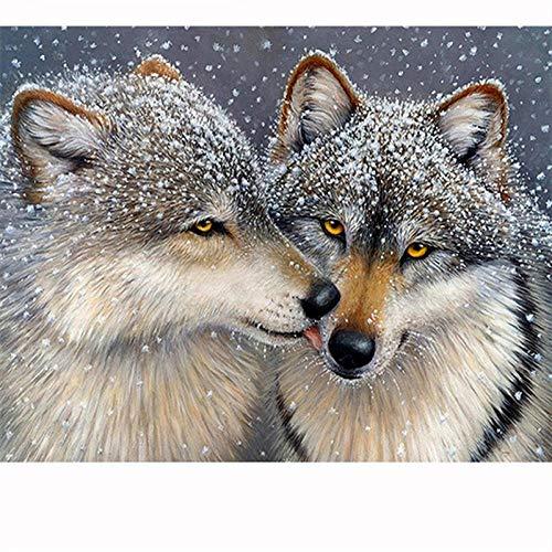 5D DIY Diamant Schilderij Volledige Boor Strass Puzzel Wolf kus Diamant Borduren Bruiloft Decoratie 30x40cm /12x16in