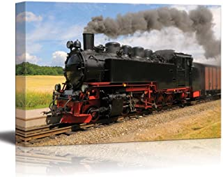 Steam Train with Black Smoke Running on Island Rugen Northern Germany - Canvas Art Wall Decor - 16