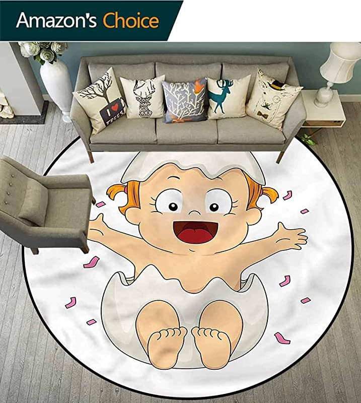 RUGSMAT Cartoon Area Rugs Ring 3D Non Slip Rug Gender Reveal Doodle Protect Floors While Securing Rug Making Vacuuming Round 31
