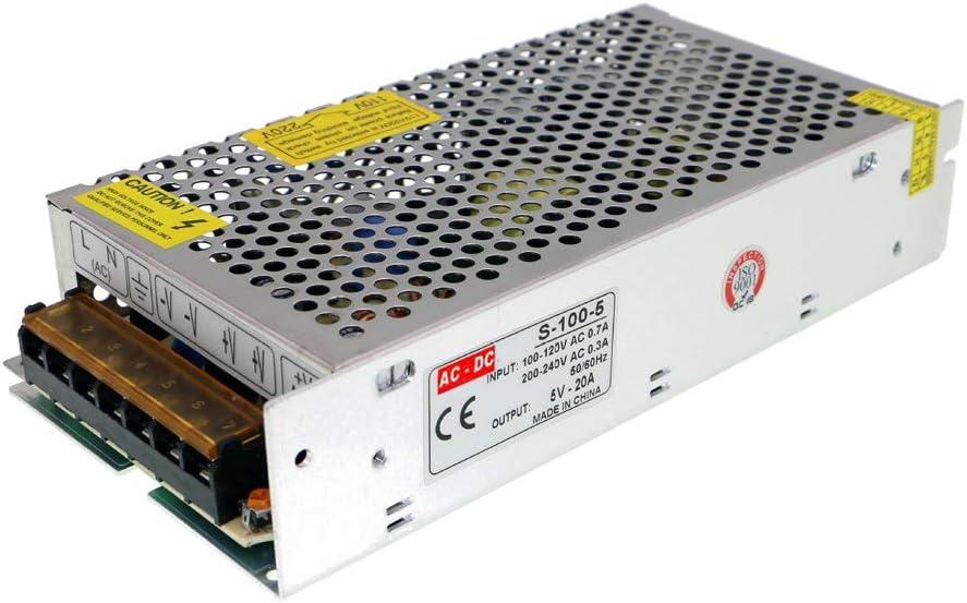 Weishuo Adaptador de Corriente Transformador AC110V / 220V a DC 5V 20A 100W Fuente de alimentación conmutada regulada Universal