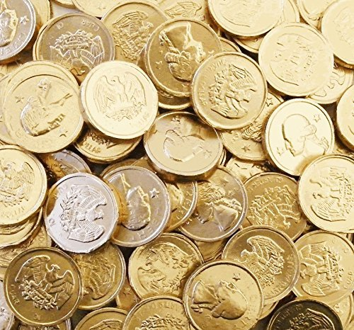 RiverFinn Gourmet Milk Chocolate Gold Quarter Coins, Bulk (1 Pound) Perfect for Kids Parties, Gifts, Favors, Game Nights, Pirate Theme, Christmas, Hanukkah & More!