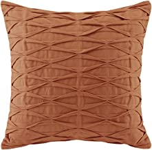 N Natori Nara Pintuck Cotton Modern Accent Throw Pillow, Contemporary Fashion Square Decorative Pillow, 18X18, Orange