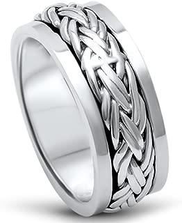 Men's Sterling Silver Fashion Celtic Spinner Band Sizes 7-12