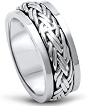 Oxford Diamond Co Men's Sterling Silver Fashion Celtic Spinner Band Sizes 7-12