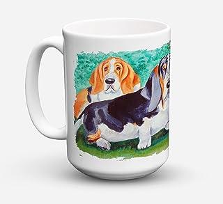 Caroline's Treasures Basset Hound Double Trouble Microwavable Ceramic Coffee Mug, 15 oz, Multicolor