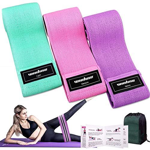 Bandas Elasticas Gluteos Musculacion, 3 Piezas Cintas Elasticas Musculacion para Piernas/Glúteos/Muslo,Bandas de Resistencia para Hombres, Mujeres, Pilates, Yoga y musculación (Pink/Green/Purple)