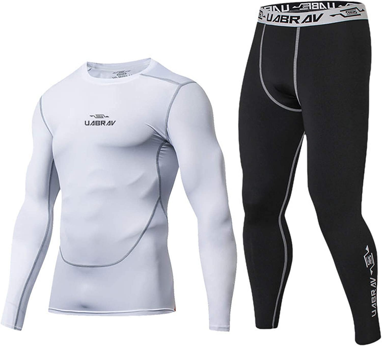 Uppada Men's Athletic Tights Long Sleeve Suit Sports Legging Quick Dry Fitness Running