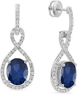 10K 10X8 MM Each Oval Gemstone & Round White Diamond Ladies Dangling Drop Earrings, White Gold