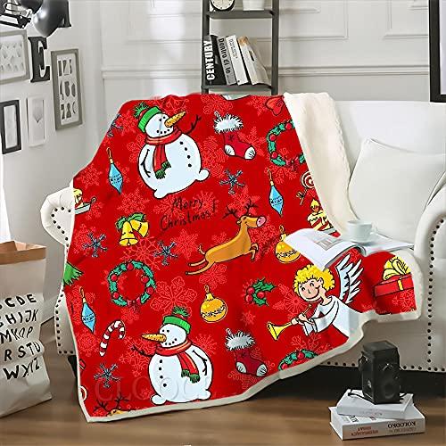 Manta para Sofá de Lana Muñeco de Nieve de Navidad Rojo Marrón Blanco Dibujos Animados Sherpa Manta Polar 100% Microfibra Extra Suave, Manta de sofá, de Cama o de Sala de Estar 135x150 cm