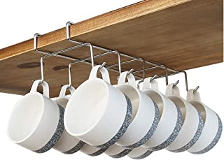 """bafvt Coffee Mug Holder - 304 Stainless Steel Cup Rack Under Cabinet, 10Hooks, Fit for The Cabinet 0.8"""" or Less"""