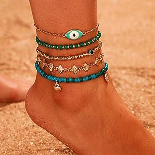 Aimimier Bohemia Evil Eye Shell Anklet Set 5Pcs Green Blue Beads Ankle Bracelet Boho Beach Jewelry for Women and Girls