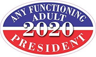 StickerTalk Oval Any Functioning Adult 2020 Vinyl Sticker, 5 inches by 3 inches