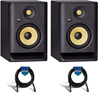 """KRK 2 Pack ROKIT 5 G4 5"""" Powered Near-Field Studio Monitor, 43Hz-40kHz Frequency Response, Black - With 2 Pack 20' 6mm Rubber XLR Microphone Cable"""