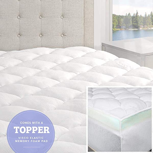 ELuxurySupply Bamboo Mattress Topper With Fitted Skirt Double Thick Extra Plush Mattress Topper 2 Pieces Hypoallergenic Mattress Toppers Queen