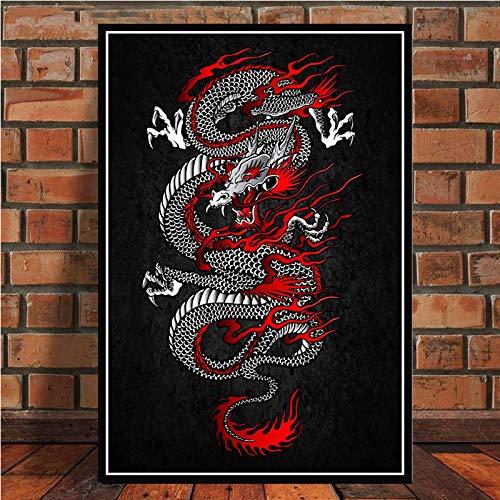 WDQTDW Leinwanddruck Japanische Bushido Samurai Kanji Abstrakte Kunst Poster Leinwand Gemälde An Der Wand Bild Home Decor Poster Und Drucke Für Wohnzimmer Home Decoration