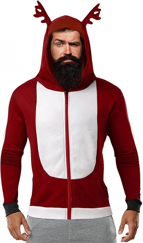 XUNFUN Men's Ugly Christmas Hoodies Funny Santa 3D Printed Hooded Sweatshirts Cute Xmas Reindeer Zipper Cardigan Jackets