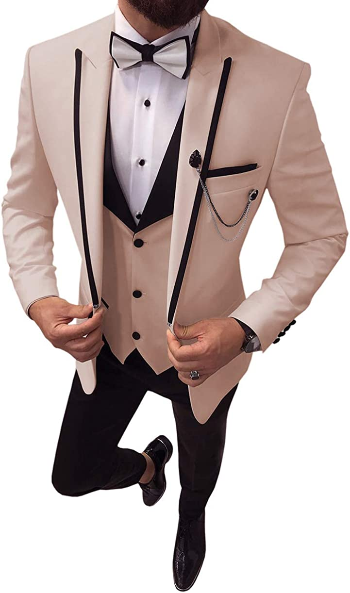 Fitty Lell Men's 3 Pieces Suit Notched Tuxedo Formal Translated Now on sale Blaze Lapel
