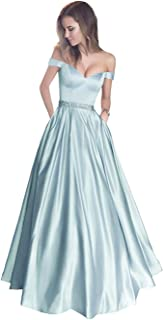 Clothsir Off Shoulder Satin Evening Prom Dresses with Beaded Waistband Cocktail Dressing Gowns