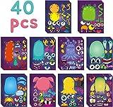 BeYumi 40Pcs Monster machen ein Gesicht Aufkleber Themen Geburtstag Party liefert kleine Monster DIY Kunst Handwerk Spiele machen Ihre eigenen Stickers Baby-Dusche-Dekoration für Kinder