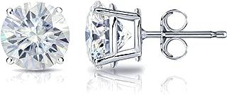 14k Gold Round Moissanite Stud Earrings (1 to 7ct TGW, J-K) 4-Prong Basket, Push-Back by Diamond Wish