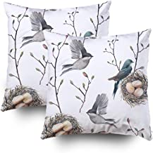 GROOTEY Decorative Cotton Square Set of 2 Pillow Case Covers with Zippered Closing for Home Sofa Decor Size 18X18Inch Costom Pillowcse Throw Cover Cushion,Watercolor nest Birds and Tree Twigs