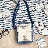 Bolso pequeño de Nylon Estilo de Verano Bolso de Hombro Fresco literario Bolsa de Mensajero Impermeable Japonesa Dulce niña Vertical Azul