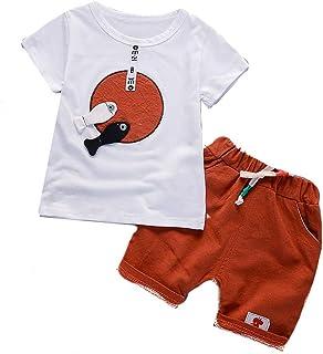 Kids' Clothing Conjunto de 2 Piezas de Ropa de Moda para niños y niñas, Playera Informal de Manga Corta, Pantalones Cortos para día Festivo de Verano