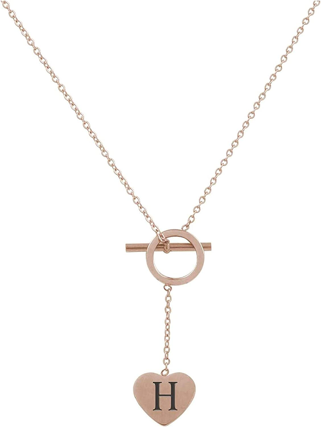 Pink Box Heart Lariat Initial Necklace H - Rose Gold
