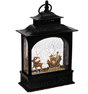Lighted Reindeer and animals in Sleigh Christmas Water Snow Glitter Globe Lantern Decor, 11 Inch, Battery Operated with Timer
