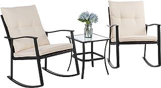 Vongrasig 3 Piece Outdoor Rocking Chair Set, PE Wicker Rattan Small Patio Rocking Bistro Set, Front Porch Furniture Rockin...