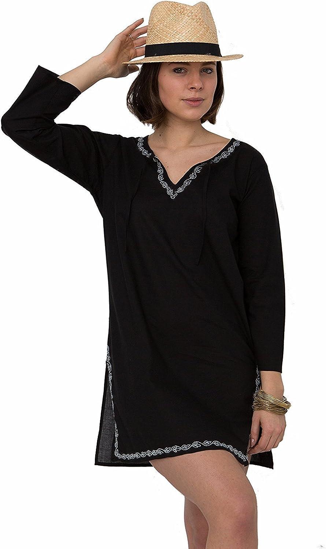 Likemary Laura Embroidered Kaftan Tunic Black