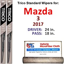 Wiper Blades for 2017 Mazda 3 Driver & Passenger Trico Steel Wipers Set of 2 Bundled with Bonus MicroFiber Interior Car Cloth