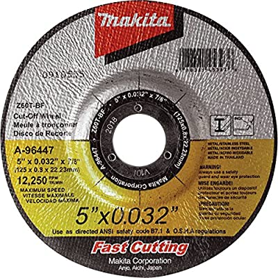 """Makita A-96447 5"""" x .032"""" x 7/8"""" Depressed Center Ultra Thin Cut-Off Wheel, Stainless"""